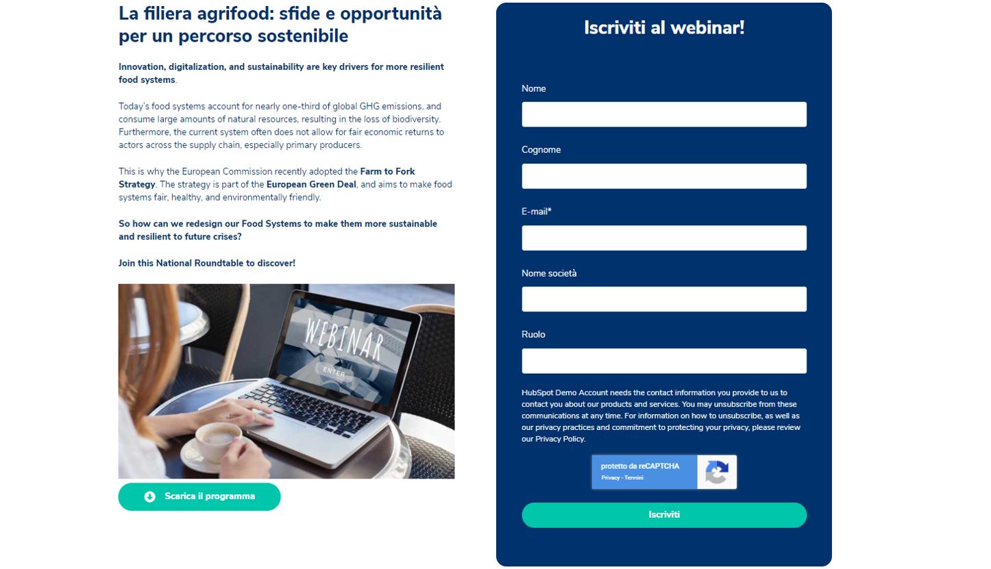 Landing page e form per generare lead