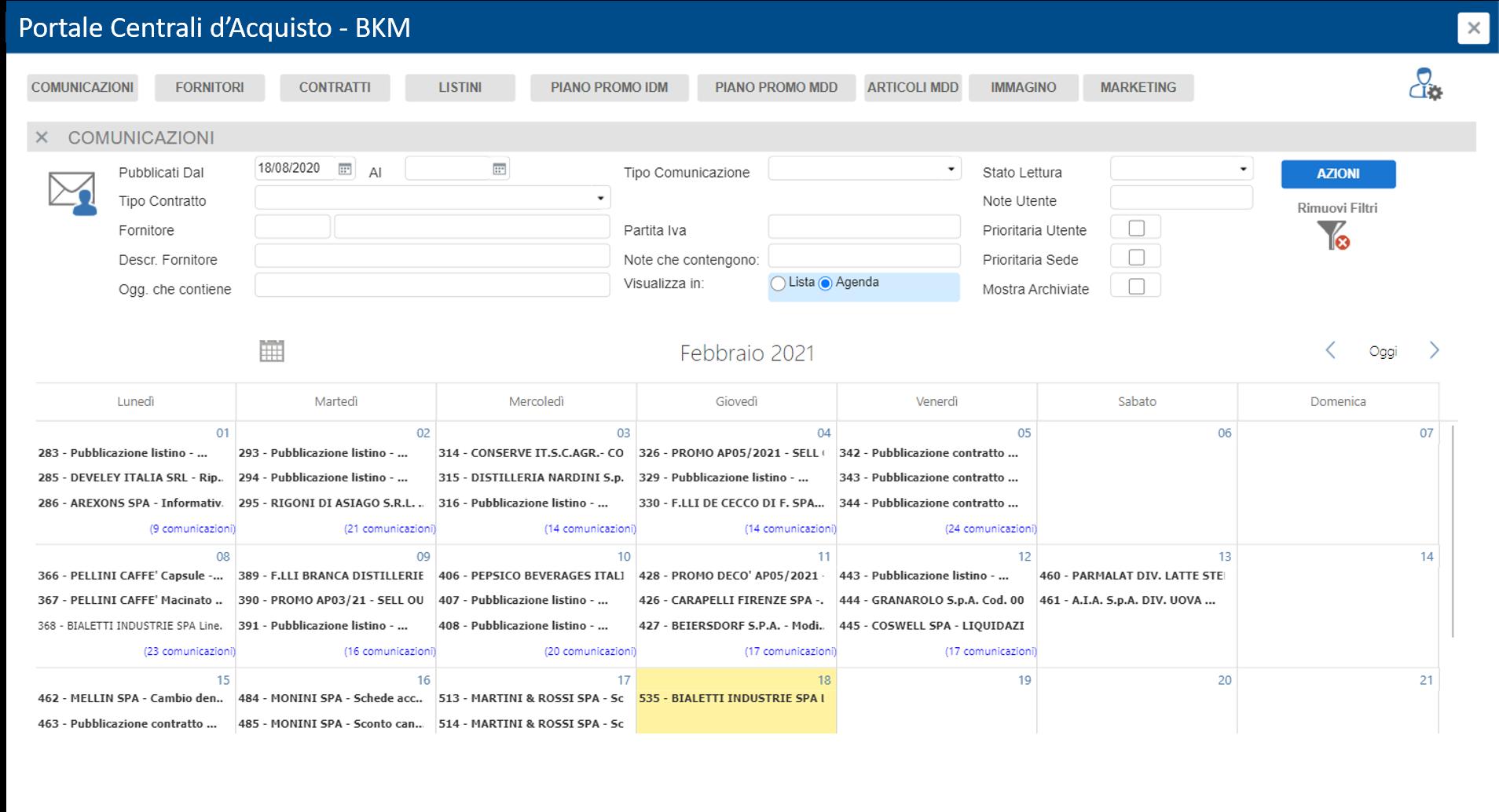 Visualizza le comunicazioni in un unico repository
