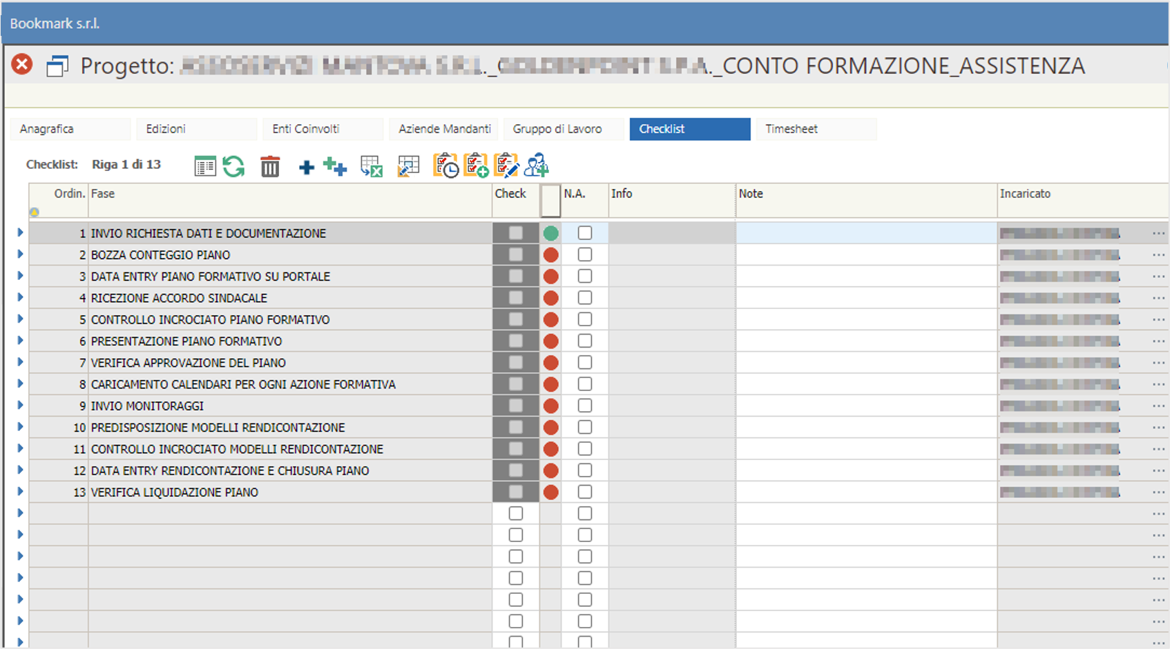 dashboard controllo progetti formativi