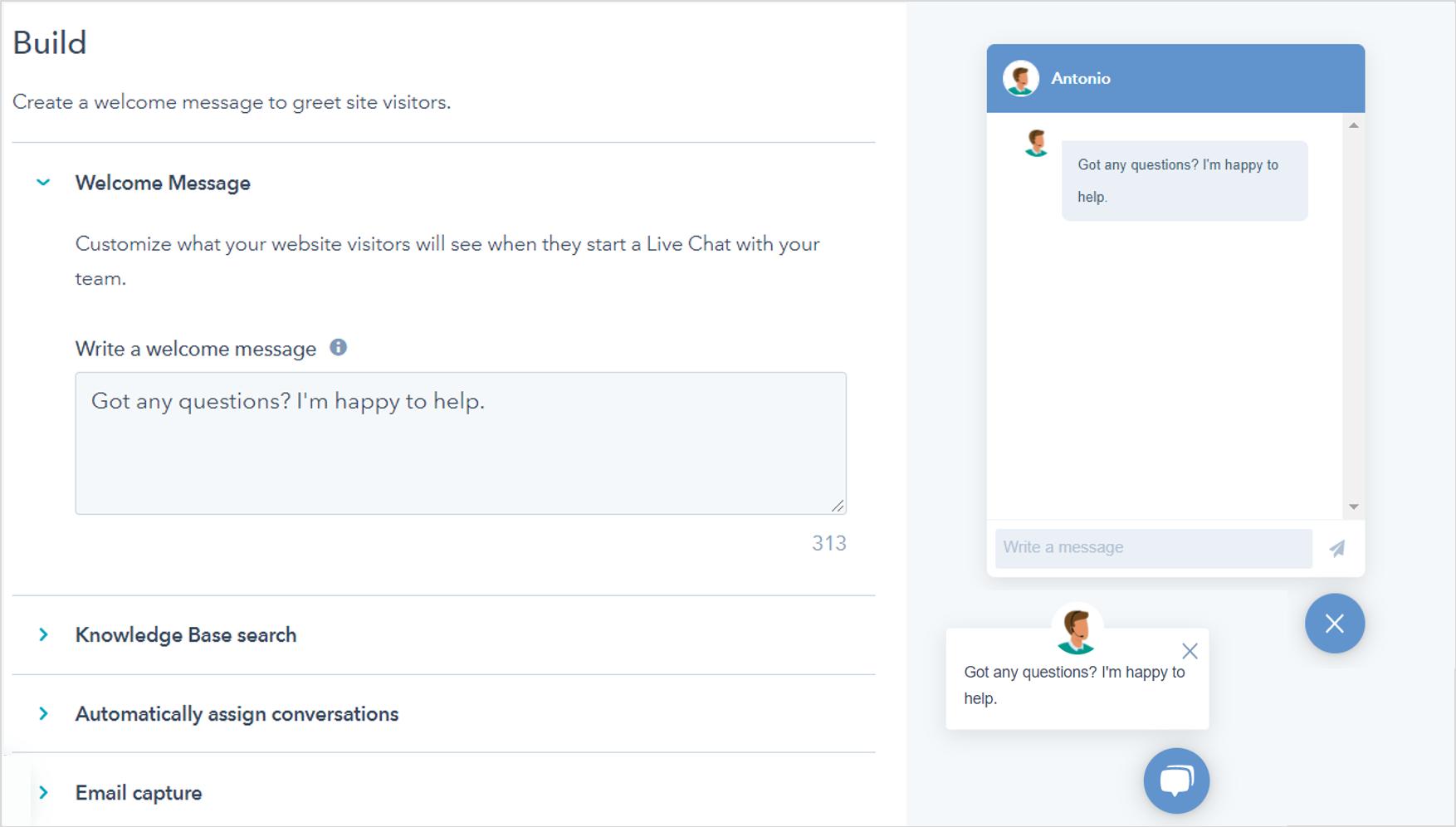 Live chat e chatbot sul tuo sito web