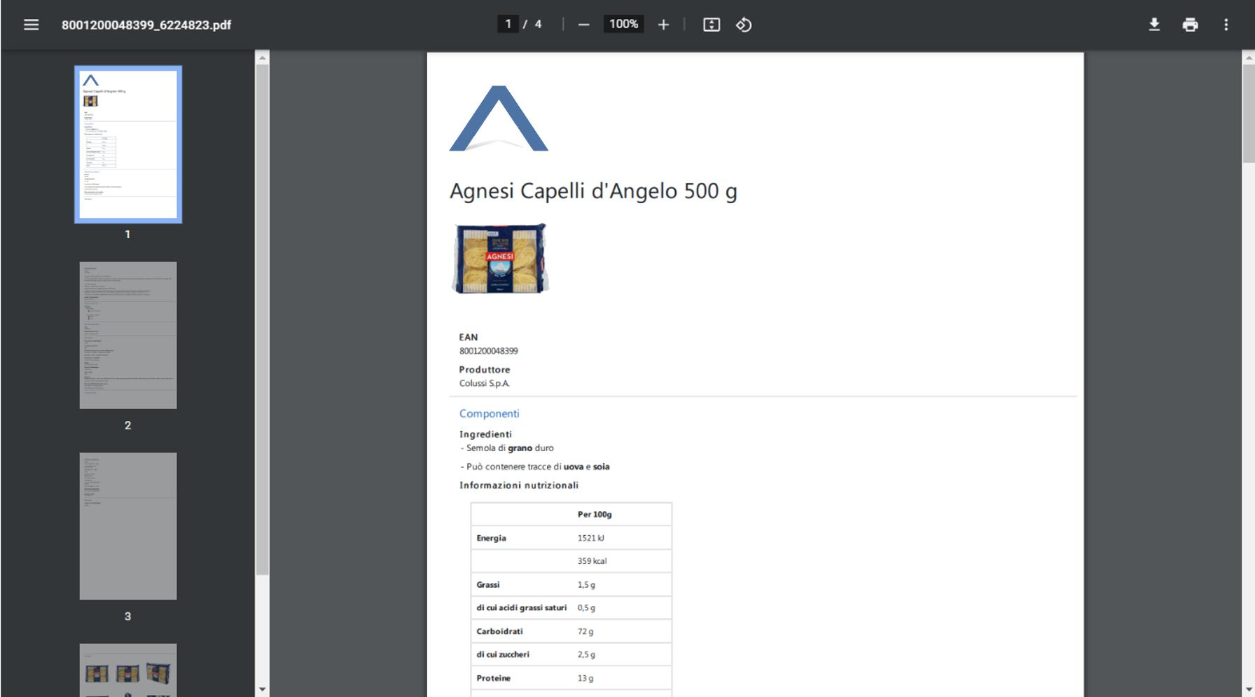 Scarica le schede dei prodotti in excel o in pdf