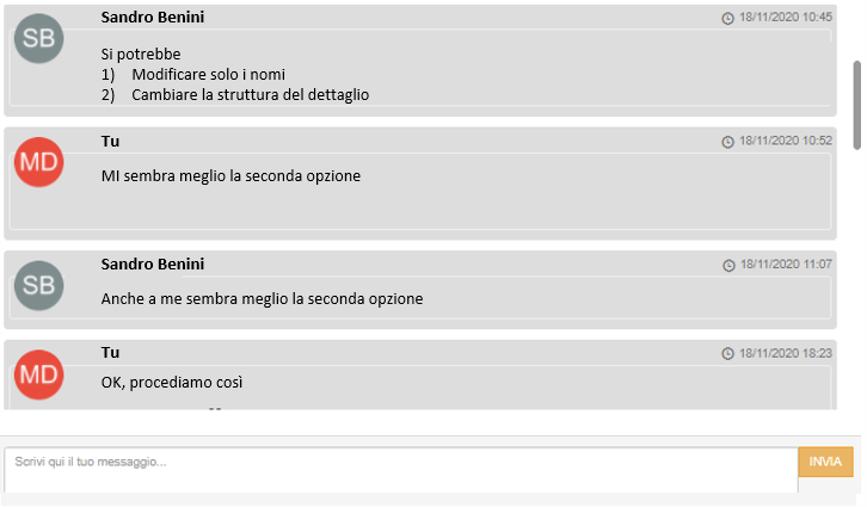 chat integrata del progetto