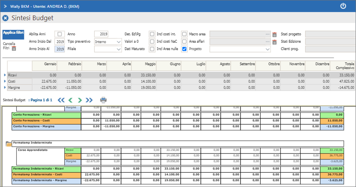 Report e analisi di budget formazione