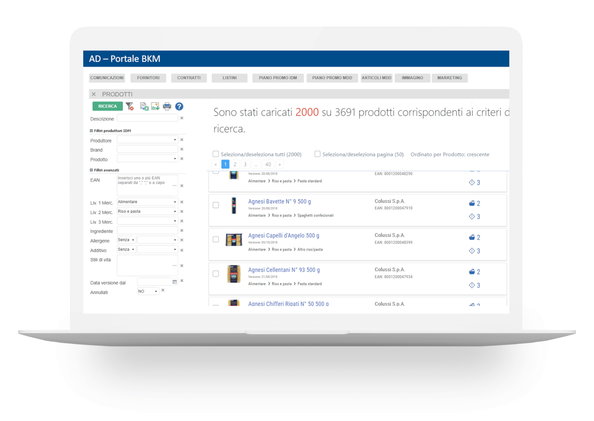 ricevere in automatico le informazioni e le immagini ufficiali dei prodotti